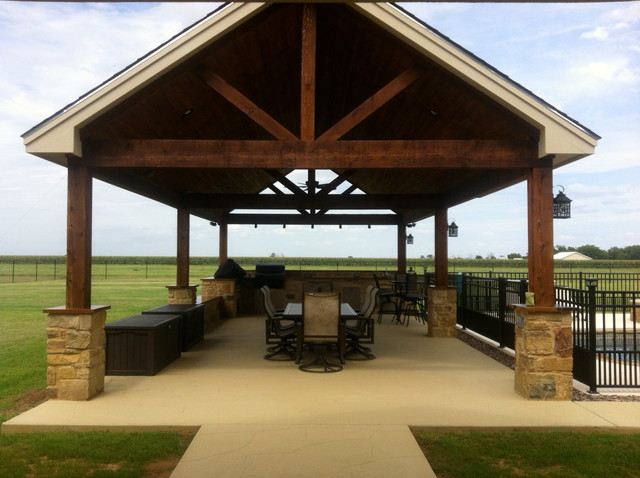 Poolside Patio Cover Rustic Exterior Austin By