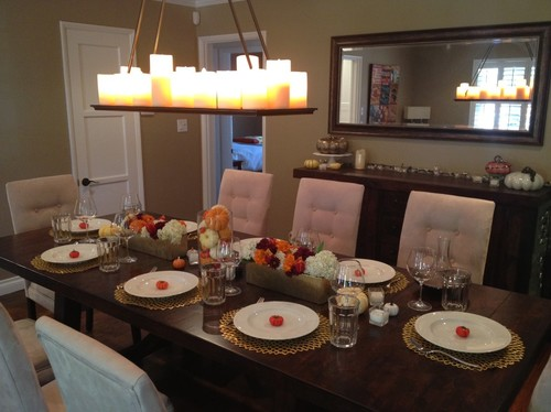 Traditional dining room with orange pumpkins