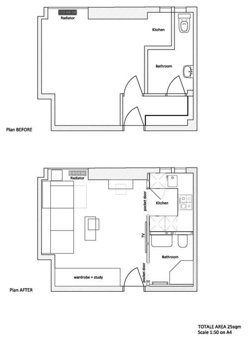 C mo vivir en 25 metros cuadrados for Vivir en 50 metros cuadrados