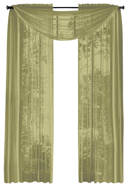 HLCME Pair Of Sheer Panels Window Treatment Curtains Sage Green Traditional Curtains By