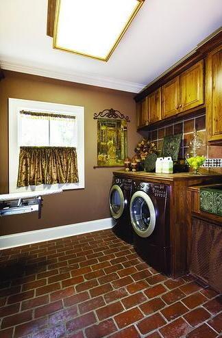 Brown Brick Laundry Room