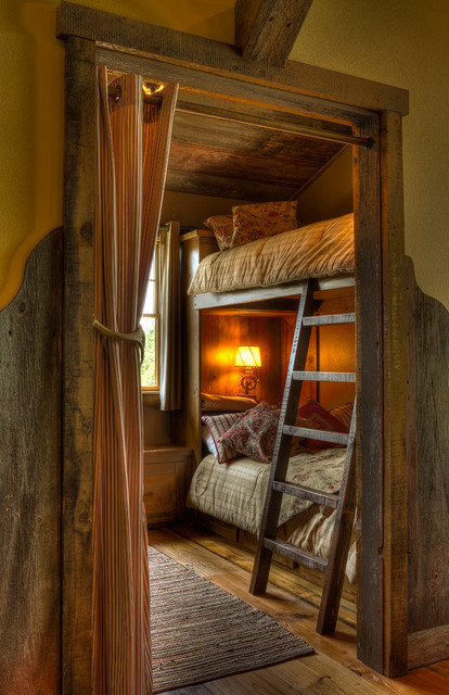 Bedroom Bunks with Ladder rustic kids