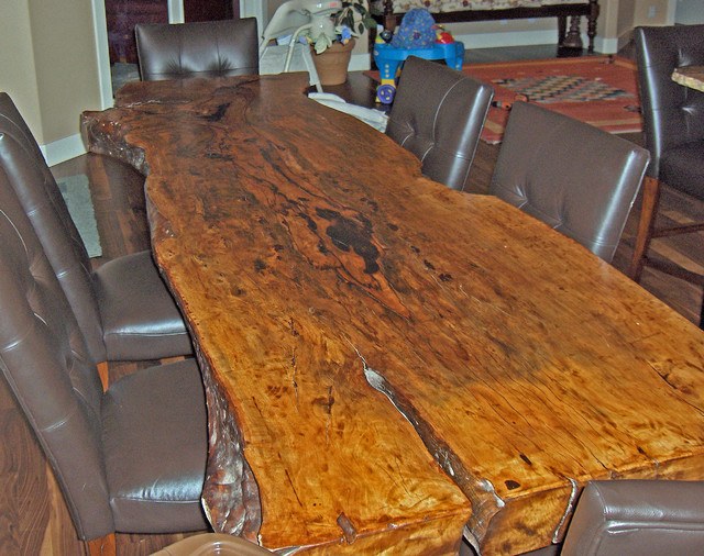 "Natural Edge Lychee Fruit Wood Dining Table, 36-40"" X 8' X"