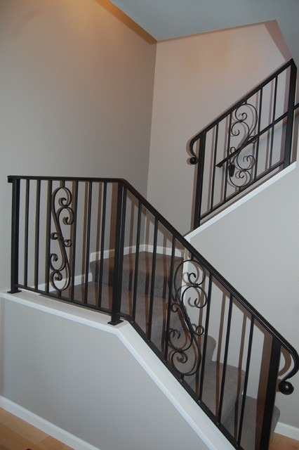 Wrought Iron Stair Rails Traditional Staircase Seattle | Rot Iron Stair Railing