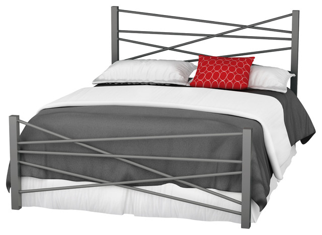 Amisco Crosston Queen Size Metal Headboard & Footboard 60