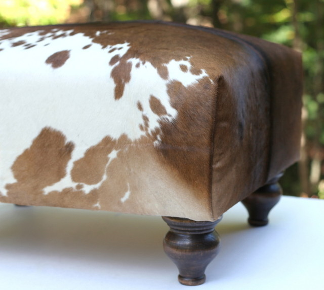 Cowhide Ottoman Brown And White Hide Rustic
