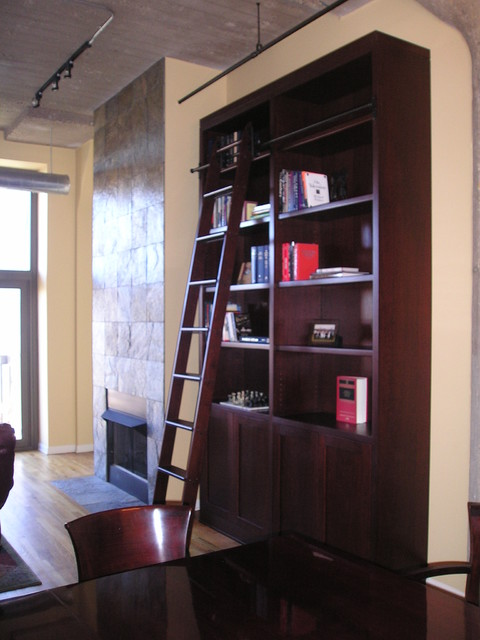 Custom Bookcase Amp Rolling Ladder Contemporary Living Room