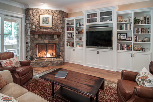 Decorating around a corner fireplace - KDH Residential Designs via Houzz