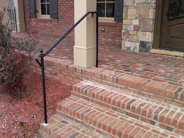 Exterior Wrought Iron Handrail Railing Mediterranean Porch Atlanta By Womack Iron | Wrought Iron Railings For Outside Steps