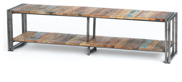 Shelf Style TV Unit Made Of Metal And Recycled Wood From