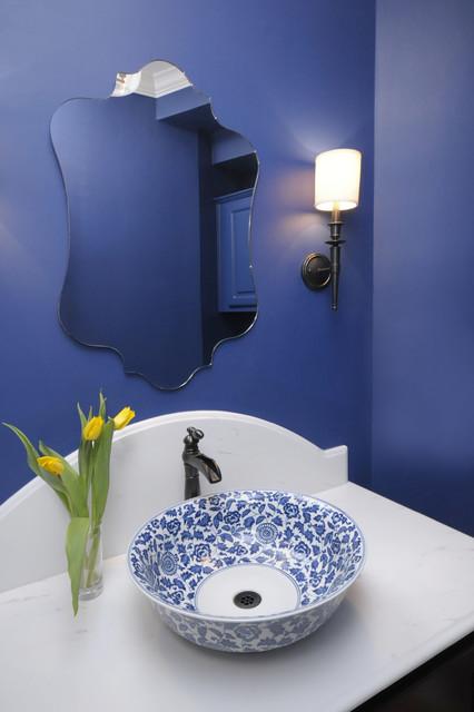 Blue Powder Bath Remodel traditional powder room