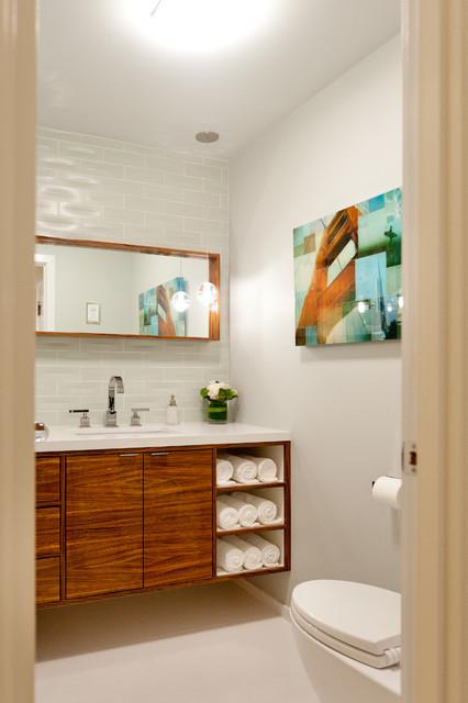 Zebra Wood Vanity Contemporary Powder Room San Francisco By Farallon Construction Inc