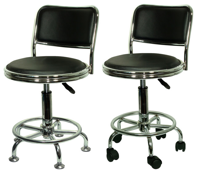 Amerihome Undersized Stool With Low Profile Backrest And