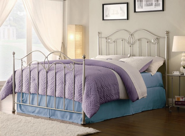 Queen Satin Nickel Metal Finished Headboard & Footboard
