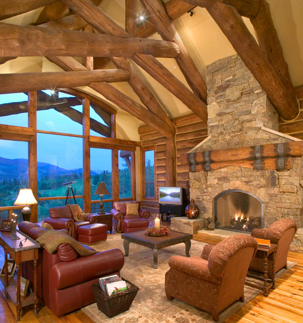 Hybrid Log House On Golf Course Traditional Living
