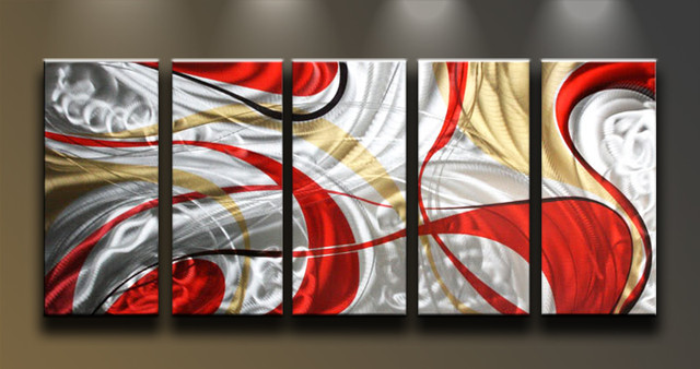 Metal Wall Art Abstract Modern Sculpture Red Silver Myst