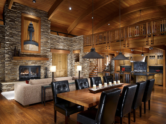 Modern Cabin Stone Accent Wall And Wood Ceiling