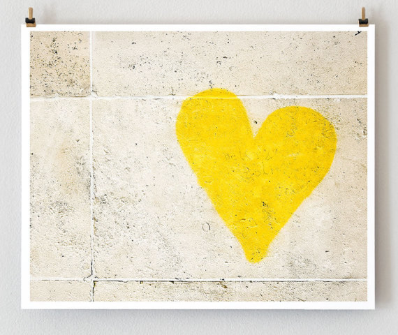 Paris Graffiti Yellow Heart Wall Art Yellow by Little Brown Pen modern artwork