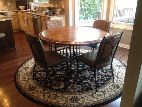 Need Help Shape Rug Put Under Round Kitchen Table Small
