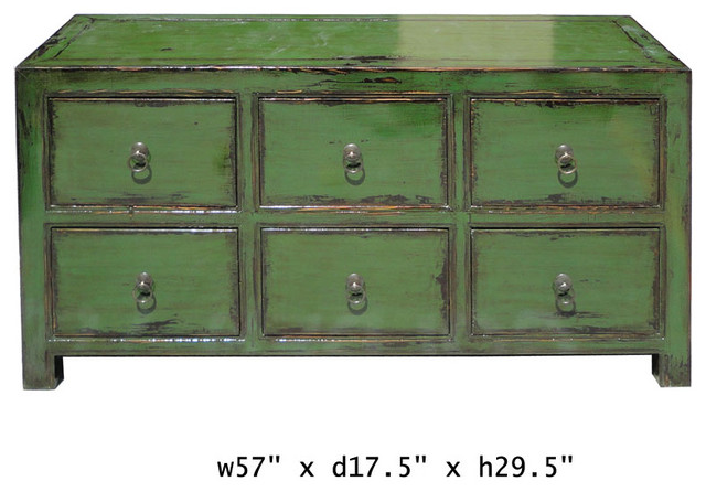 Green Glossy Lacquer Six Drawers Low Cabinet Dresser