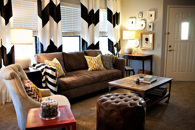 Chevron Curtains In An Eclectic Living Room
