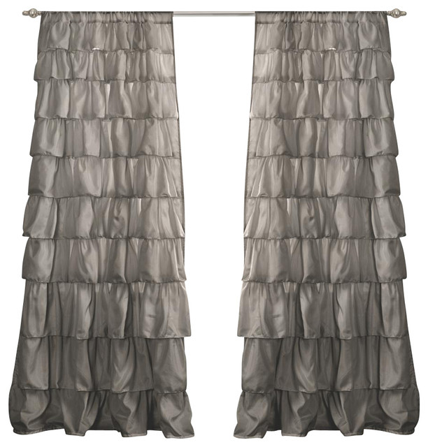 Ruffle Gray Window Curtain Contemporary Curtains By IvgStores