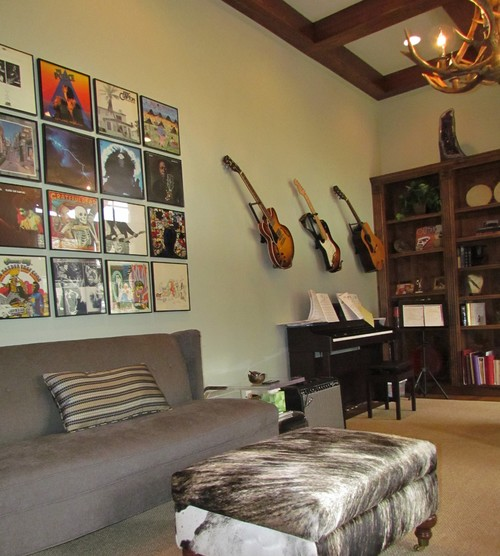 The Use of Framed Vintage Record Album Covers to Complete a Room's Decor.