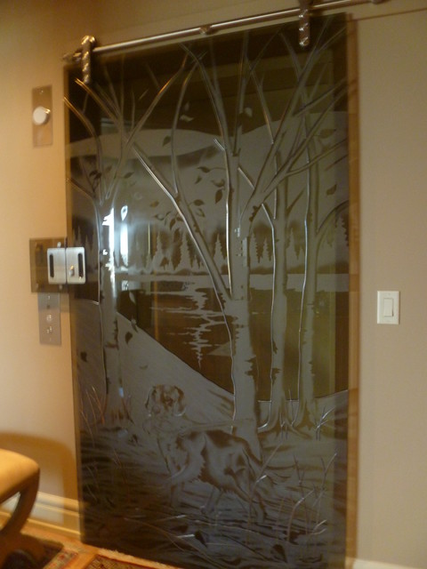 Interior Decorative Glass Doors Eclectic Interior