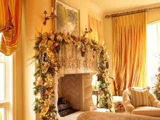 a lush garland with gold trimmings