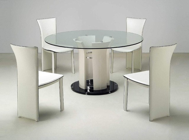Refined Round Rectangular Clear Glass Top Leather Dining