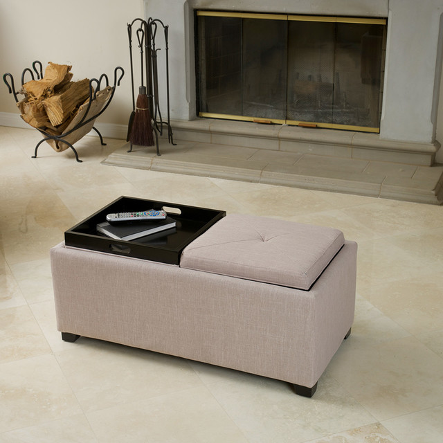 Ernest Beige Fabric Tray Ottoman Contemporary Living