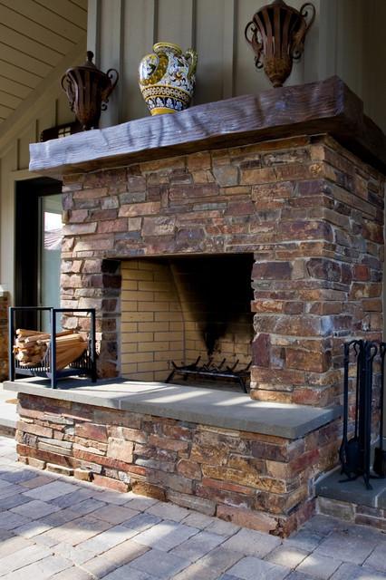 Outdoor Masonry Fireplace Traditional Landscape San