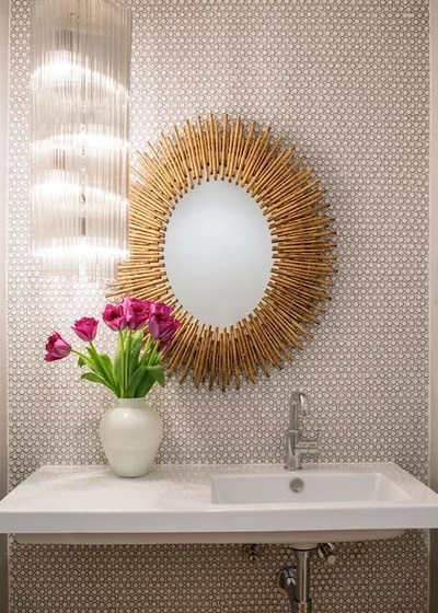 Midcentury Powder Room by Shelby Wood Design