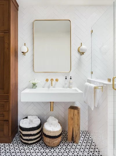 Transitional Bathroom by BUILT Design Collective
