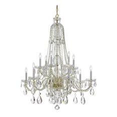 Crystorama Lighting Crystal 12 Lt Swarovski Strass Brass Chandelier Ii Chandeliers
