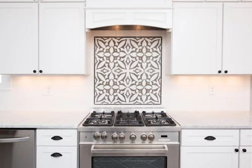 cement tiles behind stoves or cooktops