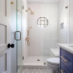 Most Popular Bathroom Design Ideas   Remodeling Pictures   Houzz Inspiration for a small transitional 3 4 white tile and porcelain tile  multicolored floor and
