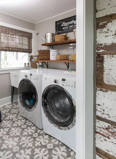 Farmhouse Laundry Room by Jami Meek Designs