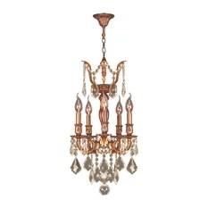 Crystal Lighting Palace French Imperial 5 Light Gold Golden Teak Chandelier