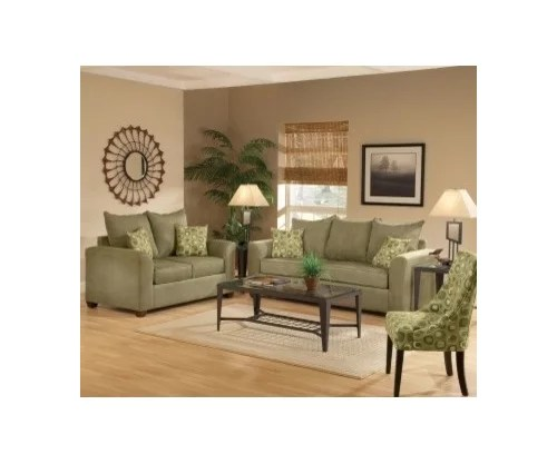 Olive Green Couches And Dark Brown Floors