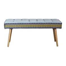 Mid-Century Inspired Bench Folklorica Black Print With Flame Red Seat Walnut