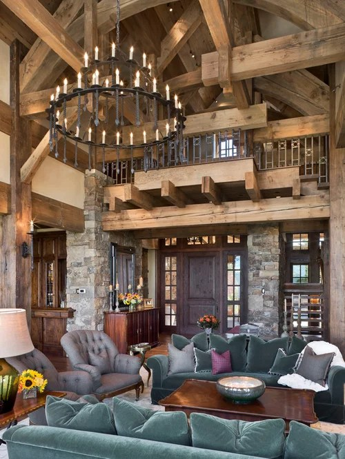 Example Of A Mountain Style Open Concept Living Room Design In Other