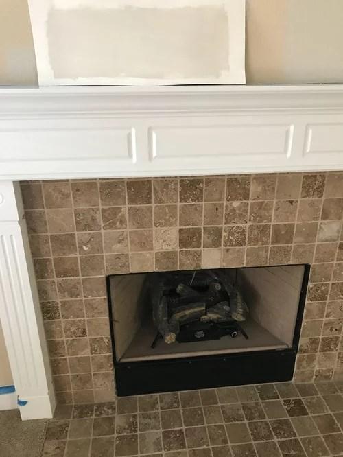replace travertine stone fireplace tile