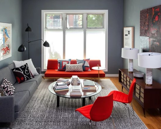 Red And Gray Color Scheme Living Room Design Ideas Remodels Part 66