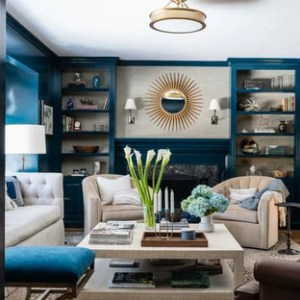 75 Most Popular Formal Living Room with Blue Walls Design Ideas     Living room   transitional formal and enclosed medium tone wood floor and  brown floor living room