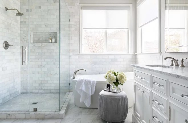 Transitional Bathroom by Juxtaposed Interiors