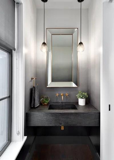 Transitional Powder Room by Beyond Beige Interior Design Inc.