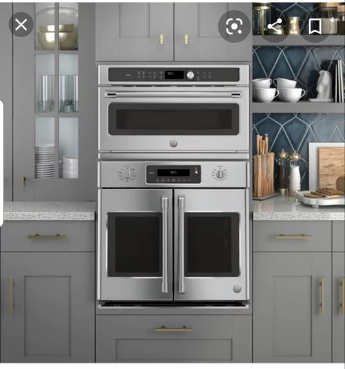 french door wall oven over microwave
