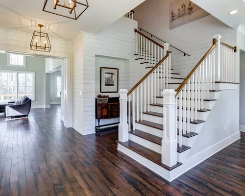 Transitional L Shaped Staircase Design Ideas Renovations | L Shape Stair Design