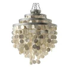 Kouboo Round Chandelier With Capiz Shells Champagne Pendant Lighting